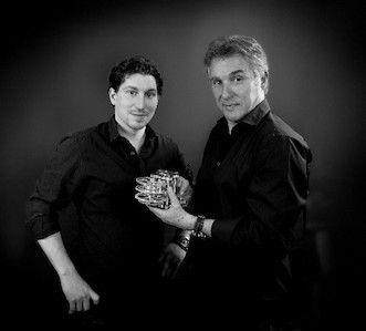 来日したアントワーヌ プレジウソ氏(右)と息子のフローリオン氏